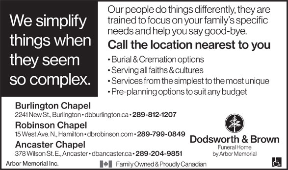 Dodsworth & Brown Funeral Home - Robinson Chapel (289-799-0849) - Annonce illustrée======= -