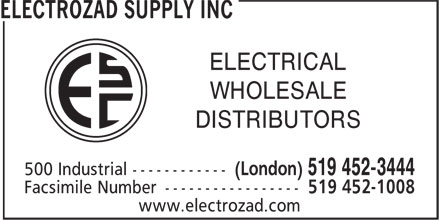 Electrozad Supply Inc (519-452-3444) - Display Ad - DISTRIBUTORS ELECTRICAL WHOLESALE
