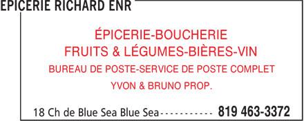 Epicerie Richard Enr (819-463-3372) - Annonce illustrée======= - ÉPICERIE-BOUCHERIE FRUITS & LÉGUMES-BIÈRES-VIN BUREAU DE POSTE-SERVICE DE POSTE COMPLET YVON & BRUNO PROP.