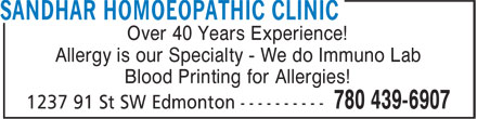 Sandhar Homoeopathic Clinic (780-439-6907) - Annonce illustrée======= - Over 40 Years Experience! Blood Printing for Allergies! Allergy is our Specialty - We do Immuno Lab