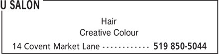 U Salon (519-850-5044) - Annonce illustrée======= - Hair Creative Colour Hair Creative Colour