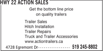 Action Trailer Sales (519-245-8802) - Display Ad - Trailer Sales Get the bottom line price on quality trailers Hitch Installation Trailer Repairs Truck and Trailer Accessories www.actiontrailers.ca