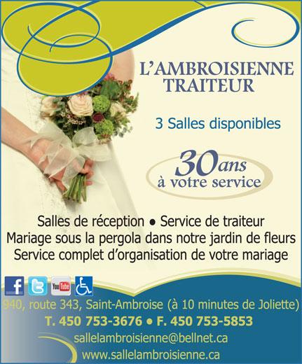 Salle de Réception L'Ambroisienne (450-753-3676) - Annonce illustrée======= -