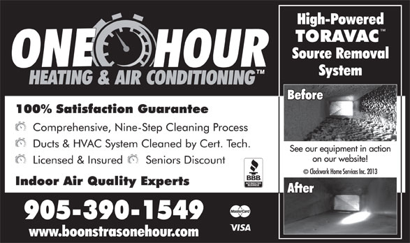 Boonstra's One Hour Heating & Air Conditioning (905-390-1549) - Annonce illustrée======= -