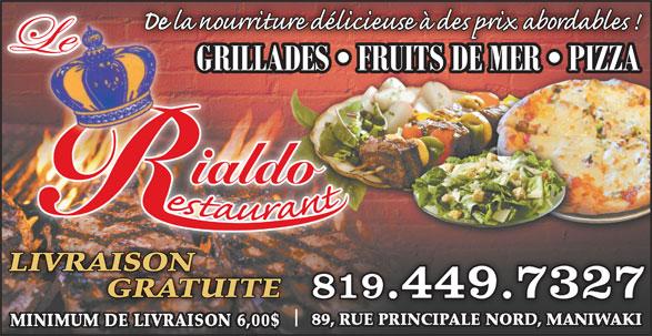 Rialdo Bar (819-449-7327) - Annonce illustrée======= - ialdo LIVRAISON GRATUITE 819.449.7327
