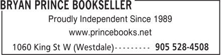 Bryan Prince Bookseller (905-528-4508) - Annonce illustrée======= -