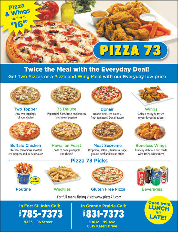 Pizza 73 (780-831-7373) - Display Ad -