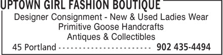 Uptown Girl Fashion Boutique (902-435-4494) - Annonce illustrée======= - Designer Consignment - New & Used Ladies Wear Primitive Goose Handcrafts Antiques & Collectibles