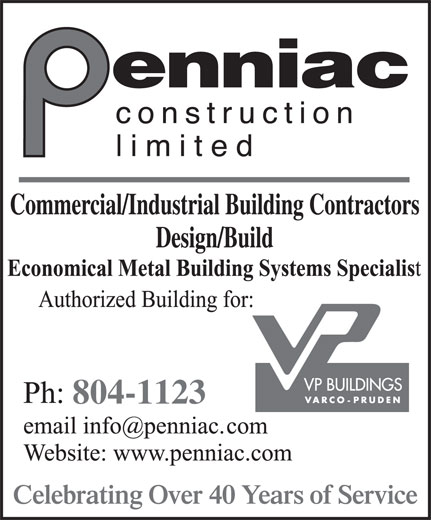 Penniac Construction Limited (506-853-8088) - Display Ad - Celebrating Over 40 Years of Service 804-1123