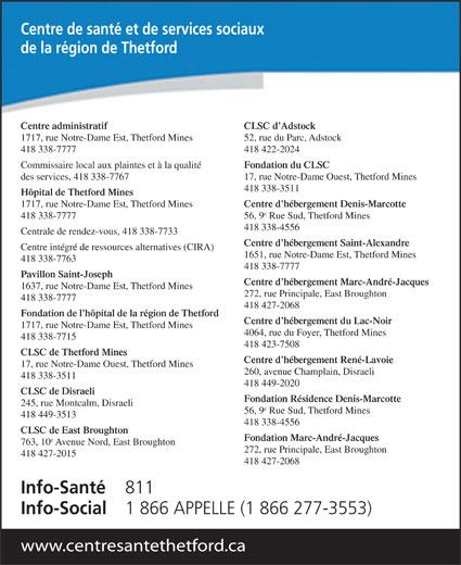 Centre de santé et de services sociaux de la région de Thetford (418-338-7777) - Display Ad - Fondation du CLSC des services, 418 338-7767 17, rue Notre-Dame Ouest, Thetford Mines 418 338-3511 Hôpital de Thetford Mines 1717, rue Notre-Dame Est, Thetford Mines Centre d hébergement Denis-Marcotte 418 338-7777 56, 9 Rue Sud, Thetford Mines 418 338-4556 Centrale de rendez-vous, 418 338-7733 Centre d hébergement Saint-Alexandre Centre intégré de ressources alternatives (CIRA) 1651, rue Notre-Dame Est, Thetford Mines 418 338-7763 418 338-7777 Pavillon Saint-Joseph Centre d hébergement Marc-André-Jacques 1637, rue Notre-Dame Est, Thetford Mines Centre de santé et de services sociaux de la région de Thetford Centre administratif 1717, rue Notre-Dame Est, Thetford Mines 418 338-7777 418 422-2024 Commissaire local aux plaintes et à la qualité 272, rue Principale, East Broughton 418 338-7777 418 427-2068 Fondation de l hôpital de la région de Thetford Centre d hébergement du Lac-Noir 1717, rue Notre-Dame Est, Thetford Mines 4064, rue du Foyer, Thetford Mines 418 338-7715 418 423-7508 CLSC de Thetford Mines Centre d hébergement René-Lavoie 17, rue Notre-Dame Ouest, Thetford Mines 260, avenue Champlain, Disraeli 418 338-3511 418 449-2020 CLSC de Disraeli Fondation Résidence Denis-Marcotte 245, rue Montcalm, Disraeli 56, 9 Rue Sud, Thetford Mines 418 449-3513 418 338-4556 CLSC de East Broughton Fondation Marc-André-Jacques 763, 10 Avenue Nord, East Broughton 272, rue Principale, East Broughton 418 427-2015 418 427-2068 Info-Santé 811 Info-Social 1 866 APPELLE (1 866 277-3553) www.centresantethetford.ca