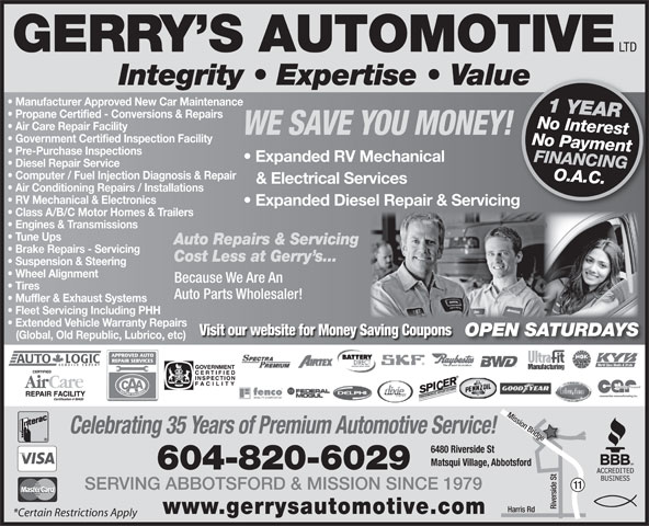Gerry 39 s automotive ltd 6480 riverside st abbotsford bc for Motor vehicle open on saturday