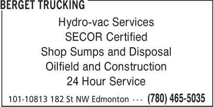 Canadian Hydrovac (780-465-5035) - Display Ad - Hydro-vac Services Shop Sumps and Disposal Oilfield and Construction 24 Hour Service SECOR Certified