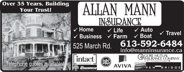 Allan Mann Insurance (613-592-6484) - Annonce illustrée======= - Over 35 Years, Building Your Trust! Farm