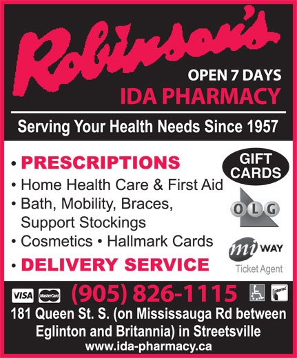 Robinsons IDA Pharmacy (905-826-1115) - Display Ad - GIFT CARDS