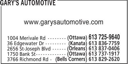 Gary's Automotive (613-725-9640) - Display Ad - www.garysautomotive.com www.garysautomotive.com