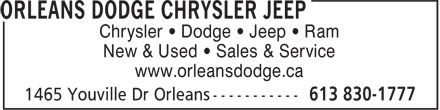 Metro Orleans Dodge Chrysler Jeep Ram (613-830-1777) - Display Ad - Chrysler • Dodge • Jeep • Ram New & Used • Sales & Service www.orleansdodge.ca