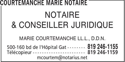 Courtemanche Marie Notaire (819-246-1155) - Display Ad - NOTAIRE & CONSEILLER JURIDIQUE MARIE COURTEMANCHE LL.L., D.D.N.