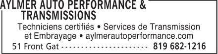 Aylmer Auto Performance & Transmissions (819-682-1216) - Annonce illustrée======= - Techniciens certifiés • Services de Transmission et Embrayage • aylmerautoperformance.com