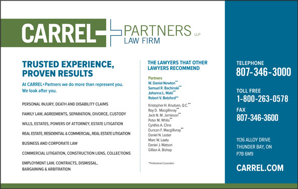 CARREL + Partners LLP (807-346-3000) - Display Ad -