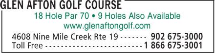 Glen Afton Golf Course (902-675-3000) - Annonce illustrée======= - 18 Hole Par 70 • 9 Holes Also Available www.glenaftongolf.com