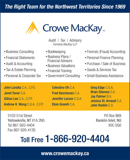 Crowe MacKay LLP (867-920-4404) - Display Ad - The Right Team for the Northwest Territories Since 1969 Audit Tax Advisory Formerly MacKay LLP Business Consulting Forensic (Fraud) Accounting Bookkeeping Business Plans / Financial Statements Personal Finance Planning Financial Advisors Audit & Accounting Purchase / Sale of Business Business Valuations Tax & Estate Planning Goods & Services Tax Financial Training Government Consulting Personal & Corporate Tax Small Business Assistance John Laratta C.A., C.F.E. Celestino Oh C.A. Greg Edge C.G.A. Brian Steeves C.A. Janet Toner C.A. Fred Deschenes C.A. Jay Palmer B.A. Gillian Lee C.A., C.F.P. Jennifer Larson C.G.A. Jessica St. Arnaud C.A. Andrew K. Wong C.G.A., C.F.P. Elom Gnanih C.A. John Rankin C.A. 5103 51st Street PO Box 869 Yellowknife, NT X1A 2N5 Ranklin Inlet, NU Tel 867-920-4404 X0C 0G0 Fax 867-920-4135 Toll Free 1-866-920-4404 www.crowemackay.ca