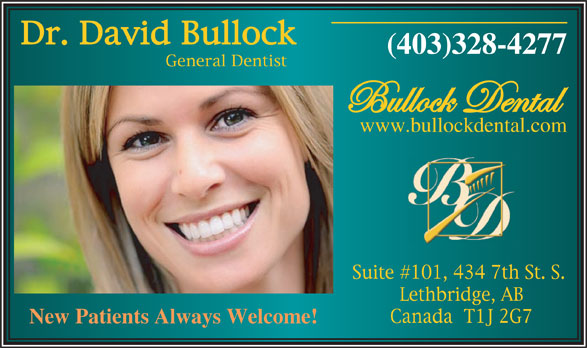 Bullock Dental (403-328-4277) - Annonce illustrée======= - (403)328-4277 www.bullockdental.com New Patients Always Welcome!