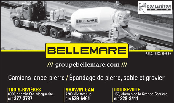 Bellemare Béton Inc (819-377-3737) - Display Ad - groupebellemare.com