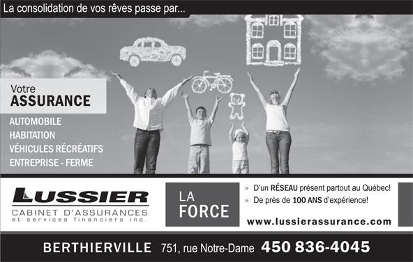 Lussier Cabinet d'assurances et services financiers (450-836-4045) - Annonce illustrée======= -