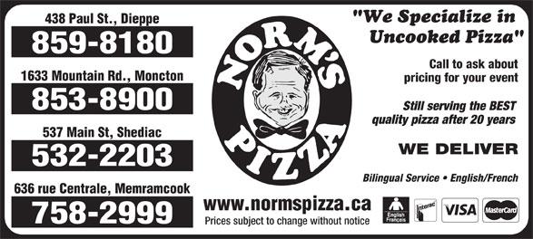 Norm's Pizza (506-859-8180) - Annonce illustrée======= -