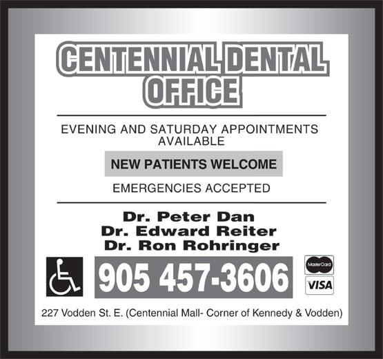Centennial Dental Office (905-457-3606) - Display Ad -