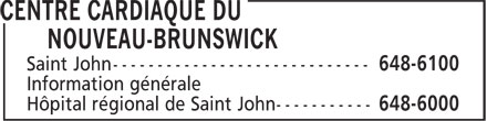 New Brunswick Heart Centre (506-648-6100) - Display Ad -