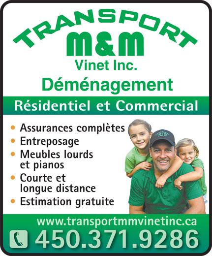 Transport m m vinet inc 995 ch de la rivi re saint for Entreposage meuble quebec