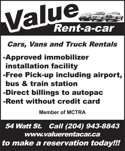 A Value Rent-A-Car (204-943-8843) - Display Ad -
