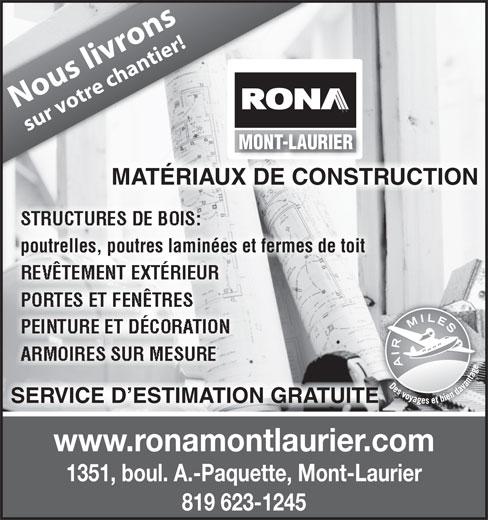 Rona mont laurier mont laurier qc 1351 boul albiny for Rona porte et fenetre