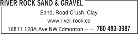 River Rock Sand & Gravel (780-483-3987) - Annonce illustrée======= - www.river-rock.ca Sand, Road Crush, Clay www.river-rock.ca Sand, Road Crush, Clay