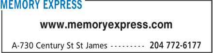 Memory Express (204-772-6177) - Display Ad - www.memoryexpress.com