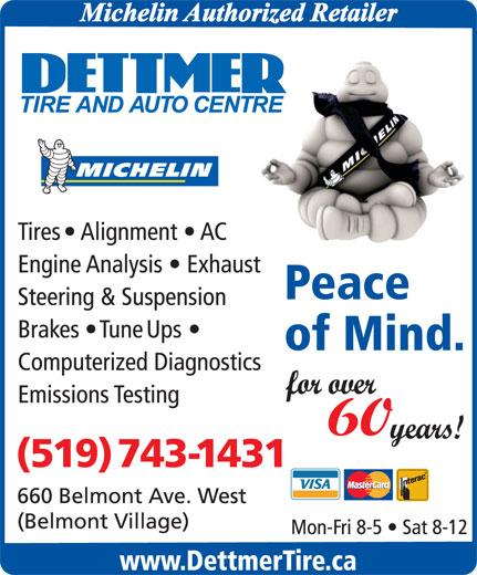 Dettmer Tire & Auto Centre (519-743-1431) - Annonce illustrée======= -