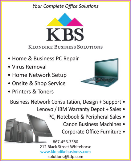 Klondike Business Solutions (867-456-3380) - Annonce illustrée======= -