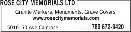 Rose City Memorials Ltd (780-672-9420) - Annonce illustrée======= - Granite Markers, Monuments, Grave Covers www.rosecitymemorials.com