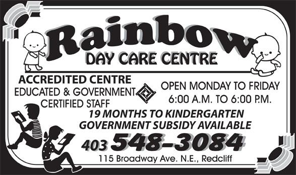 Rainbow Day Care Centre (403-548-3084) - Display Ad -