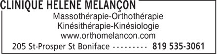 Melancon Hélène Ortho-Massothérapeute (819-535-3061) - Annonce illustrée======= - Massothérapie-Orthothérapie Kinésithérapie-Kinésiologie www.orthomelancon.com