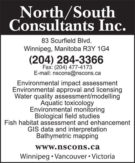 North-South Consultants Inc (204-284-3366) - Annonce illustrée======= - 204 284-3366 Fax: (204) 477-4173 Winnipeg   Vancouver   Victoria