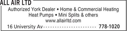 Jenkins/All-Air Ltd (506-778-1020) - Annonce illustrée======= - Authorized York Dealer • Home & Commercial Heating Heat Pumps • Mini Splits & others www.allairltd.com