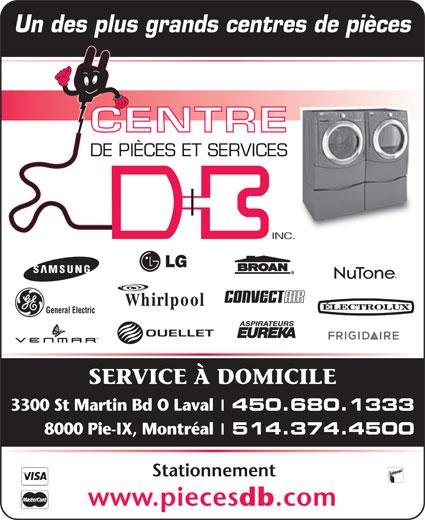 de Pièces et Services D B Inc  3300, boul SaintMartin O, Laval, QC