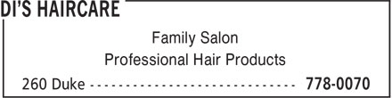 Di's Haircare (506-778-0070) - Annonce illustrée======= - Family Salon Professional Hair Products