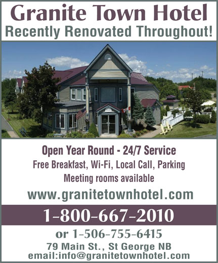 Granite Town Hotel (1-800-667-2010) - Annonce illustrée======= -