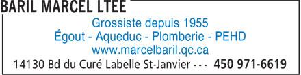 Baril Marcel Ltée (450-971-6619) - Annonce illustrée======= - Grossiste depuis 1955 Égout - Aqueduc - Plomberie - PEHD www.marcelbaril.qc.ca