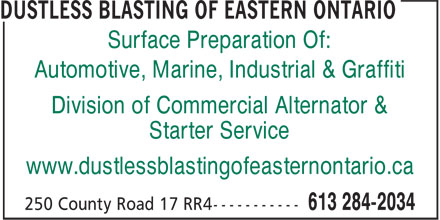 Commercial Alternator & Starter Service (613-284-2034) - Display Ad - Surface Preparation Of: Automotive, Marine, Industrial & Graffiti Division of Commercial Alternator & Starter Service www.dustlessblastingofeasternontario.ca