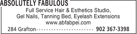 Absolutely Fabulous (902-367-3398) - Annonce illustrée======= - Full Service Hair & Esthetics Studio, Gel Nails, Tanning Bed, Eyelash Extensions www.abfabpei.com