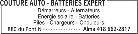 Couture Auto Électrique - Batteries Expert (418-662-2817) - Annonce illustrée======= - Démarreurs - Alternateurs Énergie solaire - Batteries Piles - Chargeurs - Onduleurs